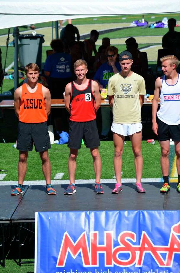 Parker Hayes, second from left, is shown on the podium at the Division 3 state track and field finals on Saturday. (Photo provided)