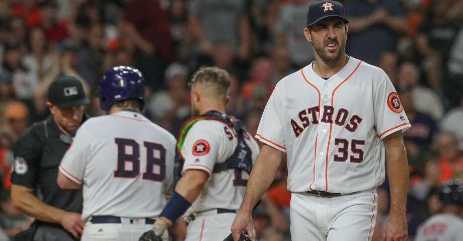 Houston Astros starting pitcher Justin Verlander (35) leaves the game after pitching during the 6th inning of an MLB baseball game at Minute Maid Park Saturday, June 2, 2018, in Houston. ( Steve Gonzales / Houston Chronicle ) Photo: Steve Gonzales/Houston Chronicle