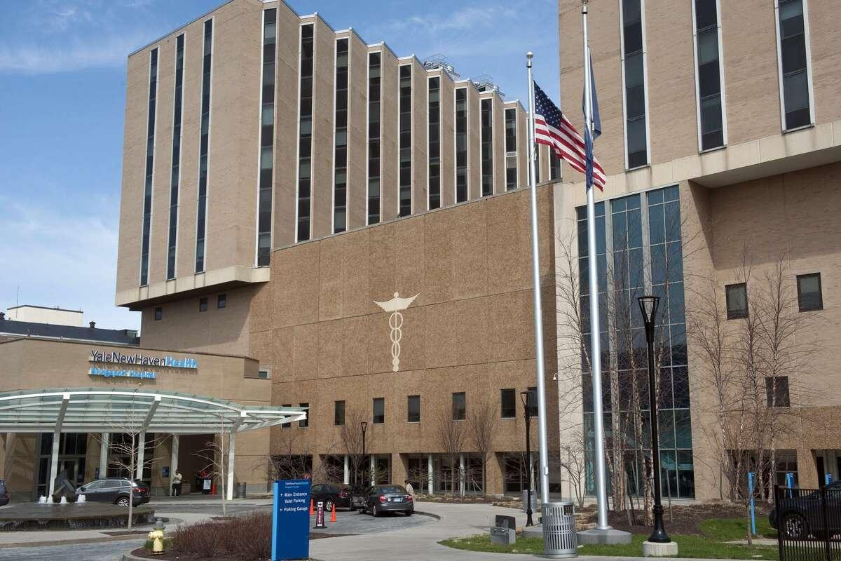 Exterior of Bridgeport Hospital, in Bridgeport, Conn. April 13, 2017. Bridgeport Hospital is a member of Yale New Haven Health.