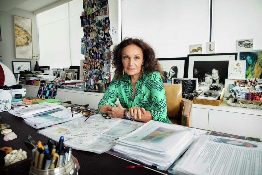 Diane von Furstenberg in her New York office. As the designer tries to step back from the brand she has long defined, she is setting lofty new goals for the future. Photo: Photo For The Washington Post By Jesse Dittmar / Jesse Dittmar