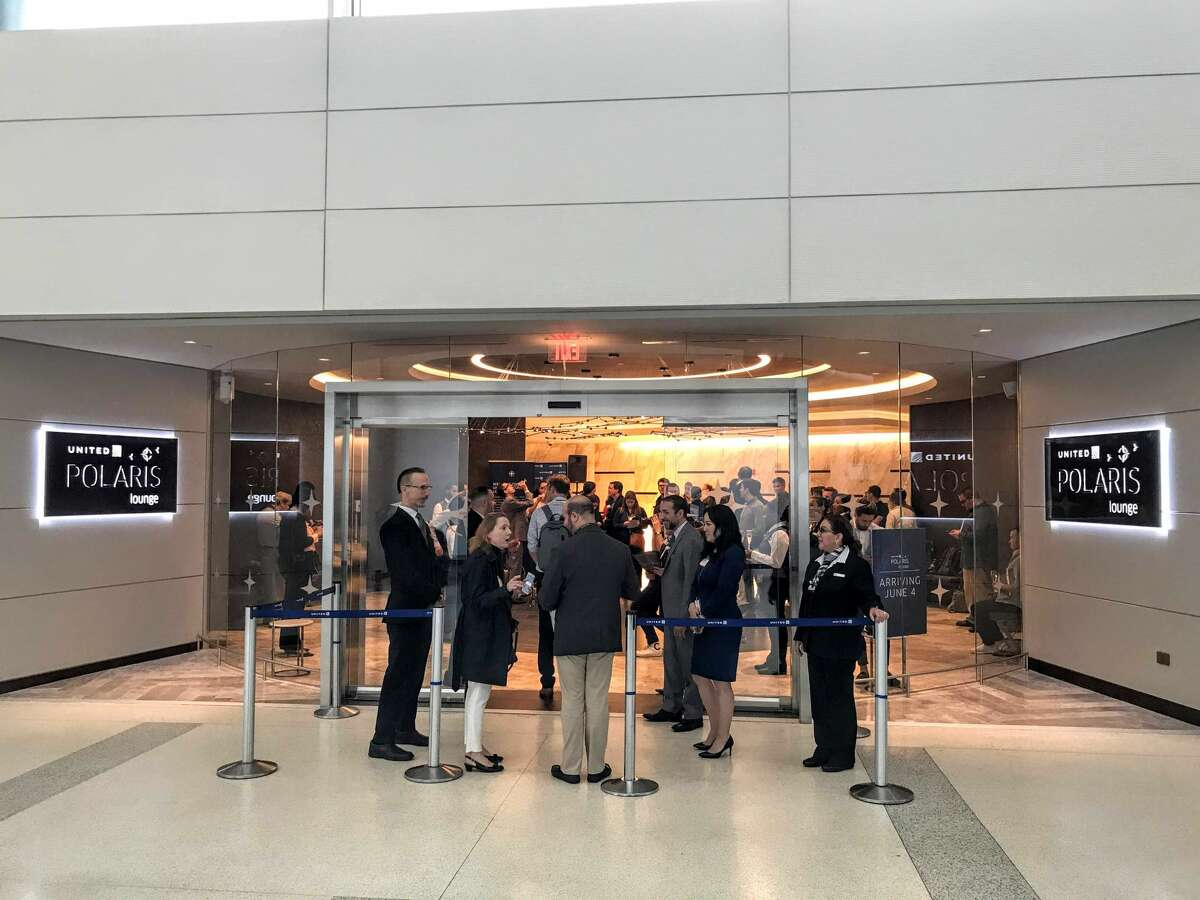 Front entrypoint for the new United Polaris business class lounge at Newark International Airport, Terminal C