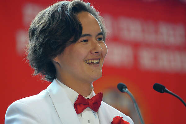Christopher Kwon, Jr. delivers the Farewell Address to his classmates during Fairfield Prep's 76th Commencement Exercises in Fairfield, Conn. on Sunday, June 3, 2018.