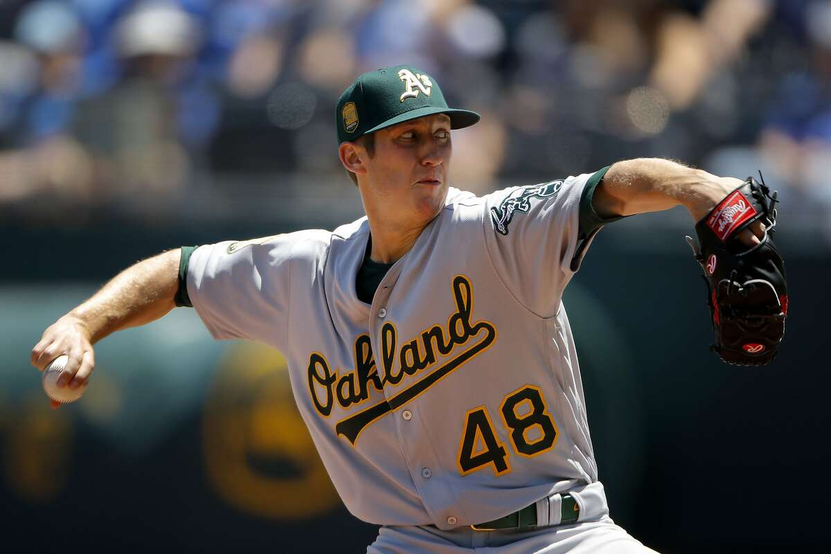 Oakland Athletics starting pitcher Daniel Gossett throws during the first inning of a baseball game against the Kansas City Royals, Sunday, June 3, 2018, in Kansas City, Mo. (AP Photo/Charlie Riedel)
