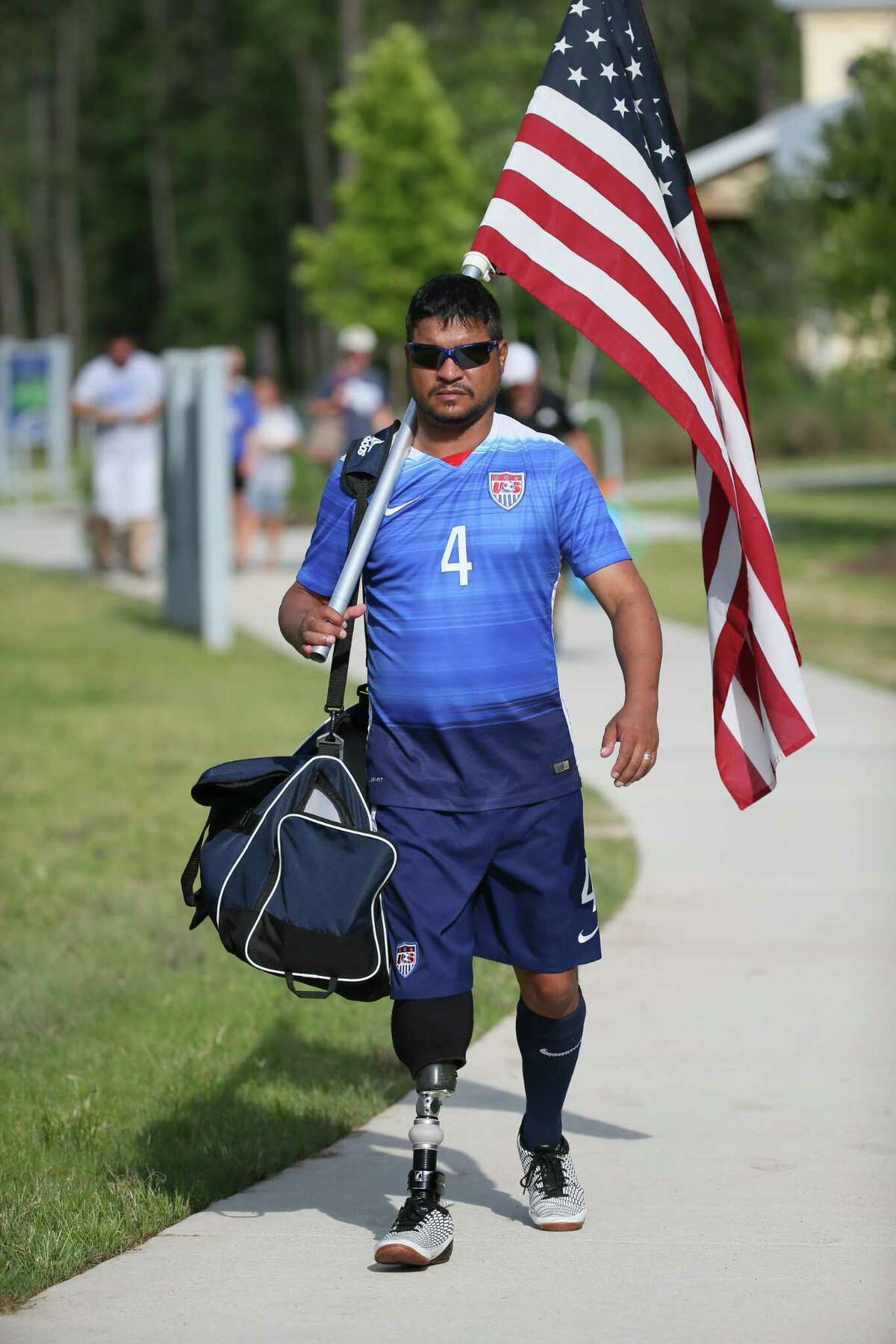 June 2, 2018: Team USA player Robert Ferguson is a US military veteran who lost his leg in a service-related injury. His team will play in the Amputee Soccer Lone Star Invitational match against the England Amputee Soccer Team at Gosling Sports Fields in The Woodlands, Texas. (Leslie Plaza Johnson/Freelance)