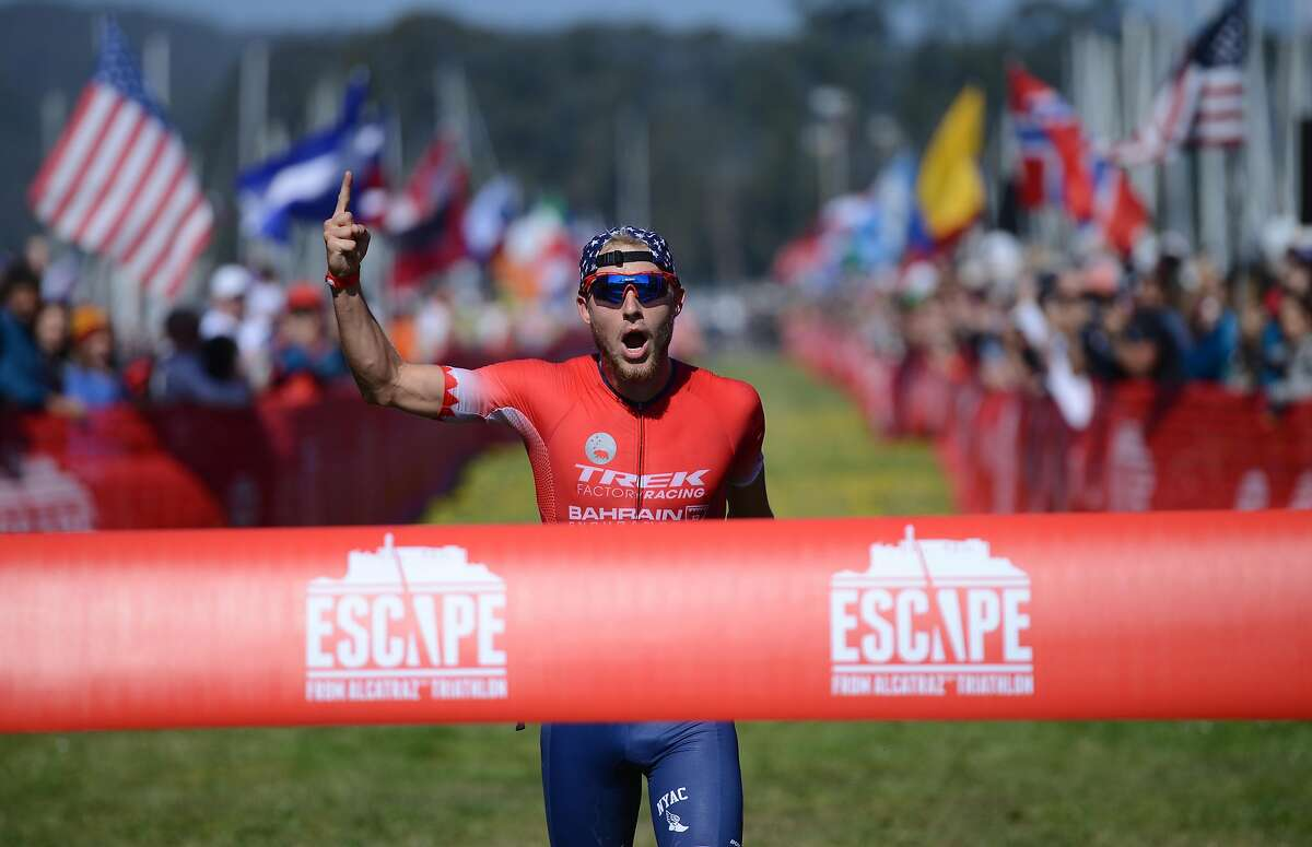 Ben Kanute, from Phoenix, Arizona, on his way to winning the Escape From Alcatraz Triathlon hosted in San Francisco Sunday June 3, 2018.