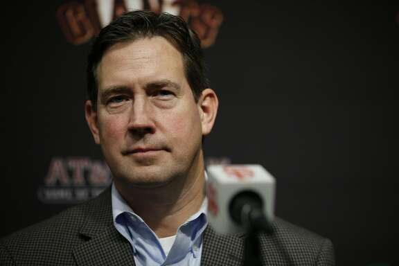 San Francisco Giants general manager Bobby Evans during a news conference at AT&T Park, Friday, Jan. 19, 2018, in San Francisco, Calif. The S.F. Giants introduced Evan Longoria as their new third baseman.