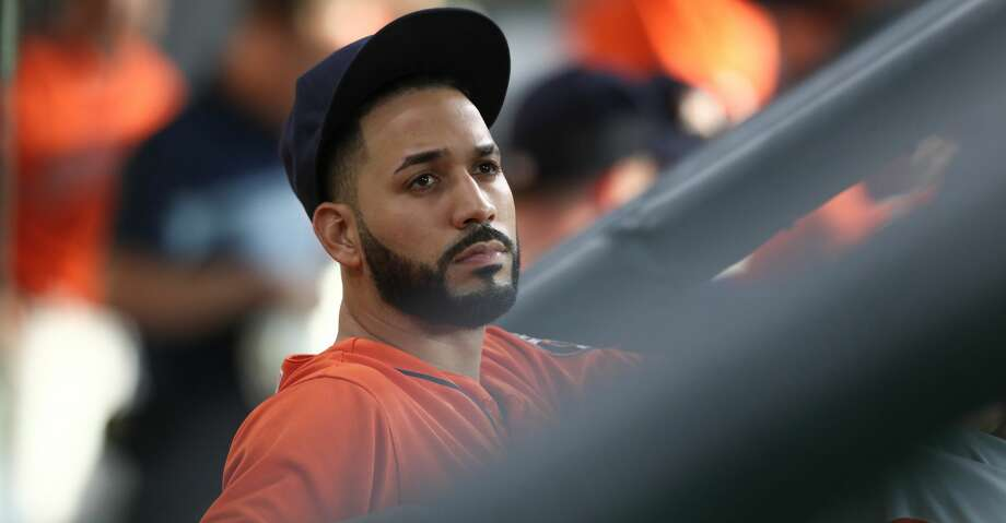 Houston Astros left fielder Marwin Gonzalez (9) looks at the scoreboard during the MLB baseball game at Minute Maid Park Friday, June 1, 2018, in Houston. ( Steve Gonzales / Houston Chronicle ) Photo: Steve Gonzales/Houston Chronicle