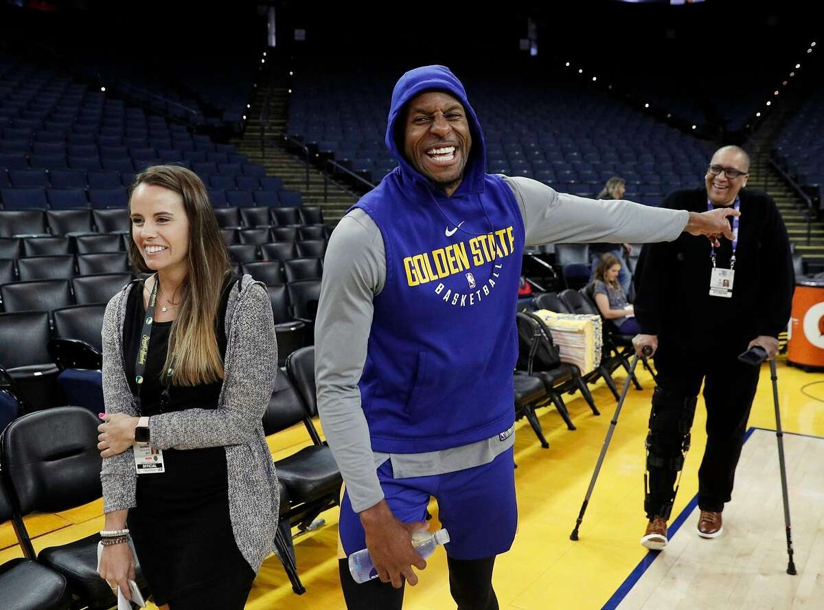 Andre Iguodala (9) smiles as he leaves an interview during an off day practice and media day at Oracle Arena before the Golden State Warriors play the Cleveland Cavaliers in Game 1 of the NBA Finals in Oakland, Calif, on Wednesday, May 30, 2018.
