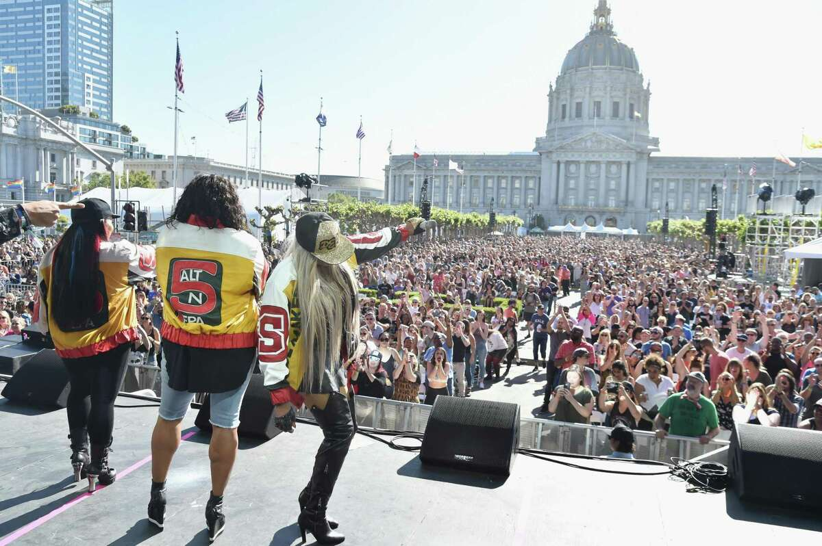 Salt, DJ Spinderella and Pepa of Salt-N-Pepa perform on the Colossal Stage during Clusterfest at Civic Center Plaza and The Bill Graham Civic Auditorium.