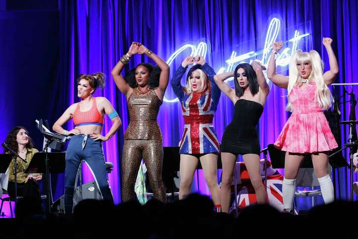 SAN FRANCISCO, CA - JUNE 02:  (L-R) Manila Luzon, Honey Mahogany, Jinkx Monsoon, Alaska Thunderfuck, D'Arcy Drollinger perform onstage during 'Clusterfilm Series Spice World: The 20th Anniversary Live Read Co-curated by SF Sketchfest' in the Larkin Comedy Club during Clusterfest at Civic Center Plaza and The Bill Graham Civic Auditorium on June 2, 2018 in San Francisco, California.  (Photo by FilmMagic/FilmMagic) *** Local Caption *** Manila Luzon; Honey Mahogany; Jinkx Monsoon; Alaska Thunderfuck; D'Arcy Drollinger; Karl Philip Michael Westerberg; Alpha Mulugeta; Jerick Hoffer; Justin Andrew Honard