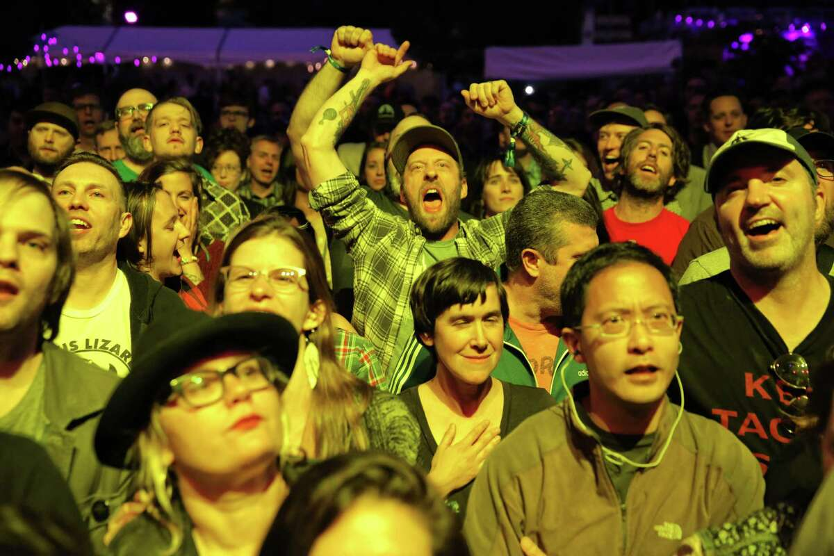 Fans cheer as newly reunited band Jawbreaker performs on the Amazon Main Stage on day two of the second annual Upstream Music Fest + Summit, which was held in venues throughout the Pioneer Square neighborhood, Saturday, June 2, 2018. Upstream features 200+ artists, mainly from the Northwest region, and includes a summit with talks on changes in the music industry.