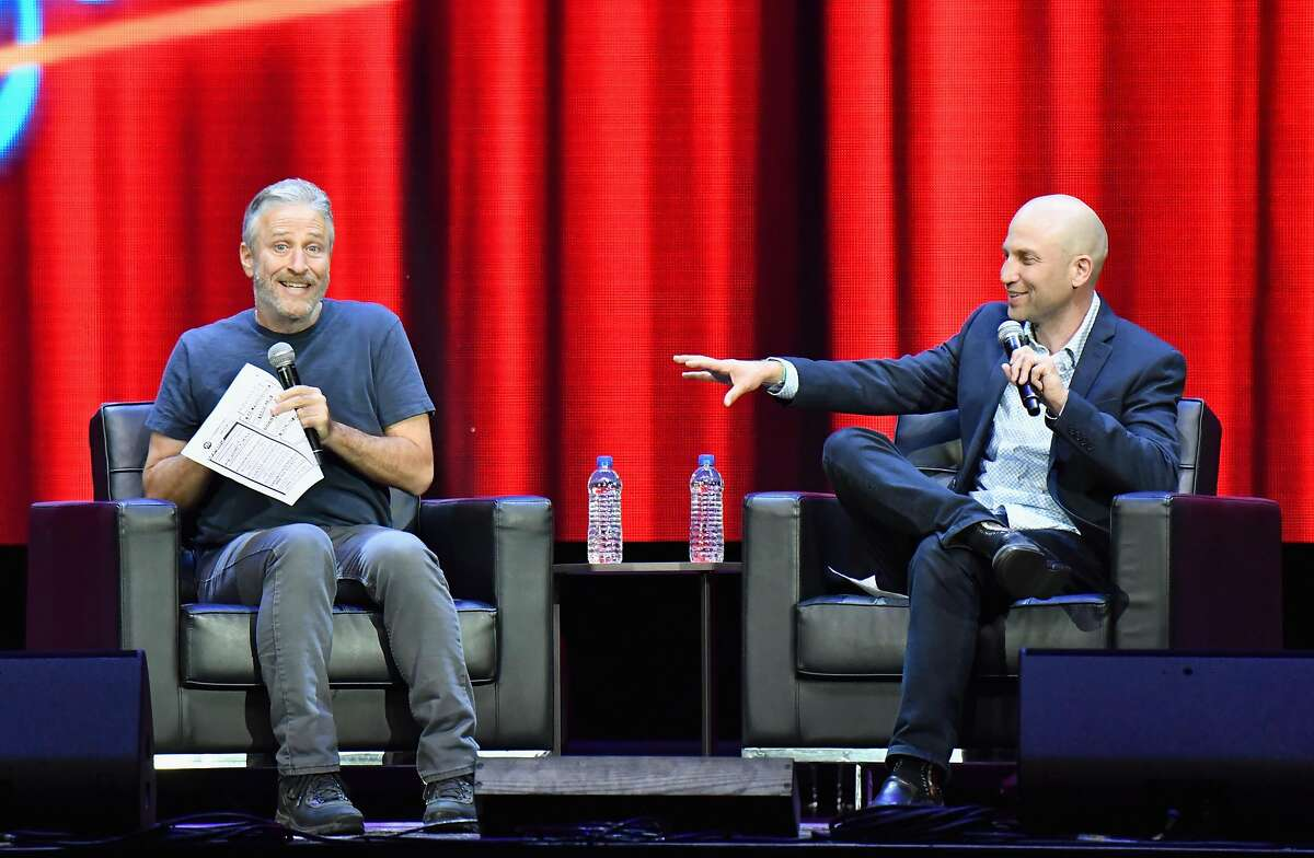 SAN FRANCISCO, CA - JUNE 03: In Conversation with Jon Stewart Moderated by San Francisco Chronicle's Peter Hartlaub on the Bill Graham Stage during Clusterfest at Civic Center Plaza and The Bill Graham Civic Auditorium on June 3, 2018 in San Francisco, California. (Photo by Jeff Kravitz/FilmMagic) *** Local Caption *** Jon Stewart; Peter Hartlaub