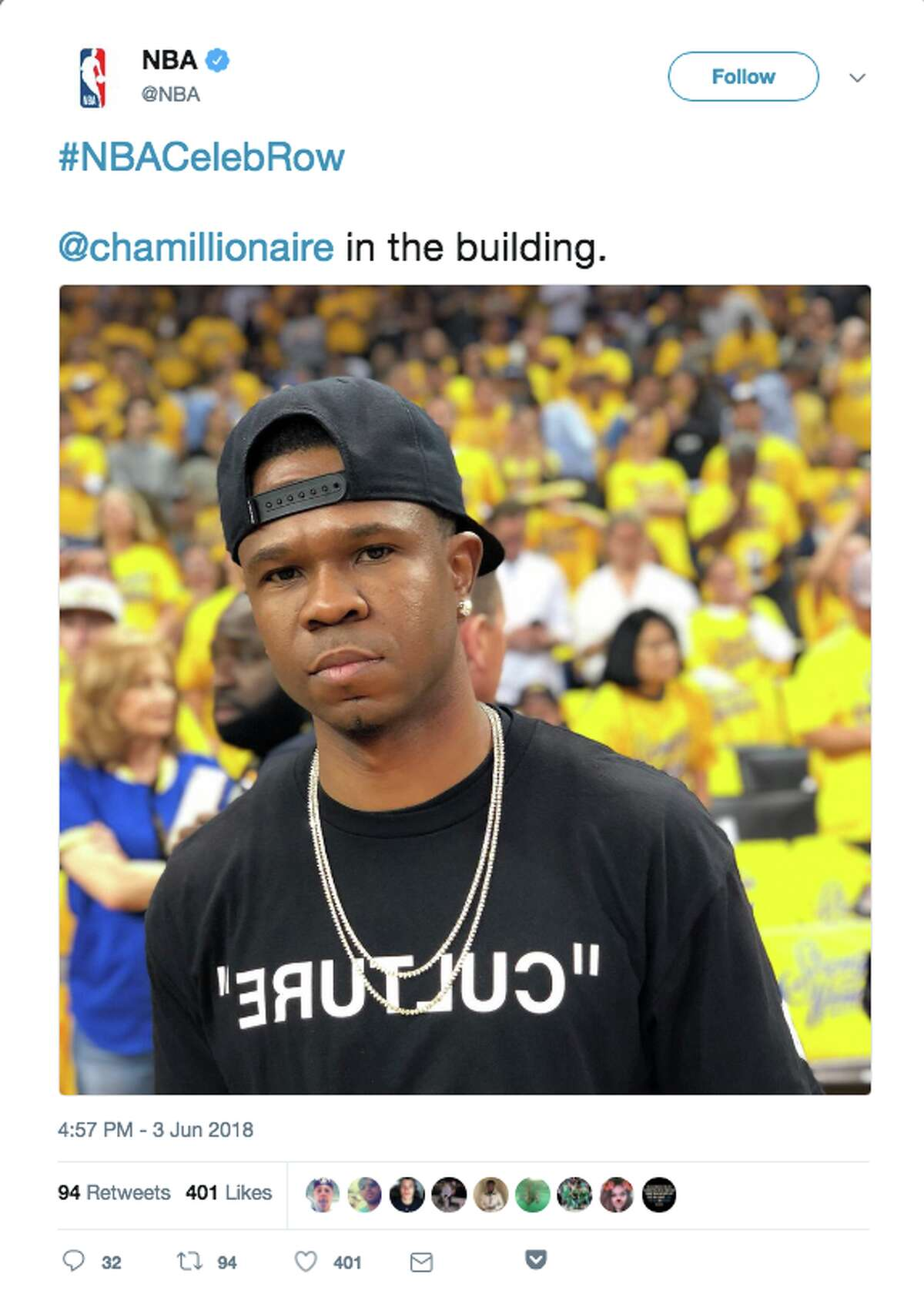 Rapper Chamillionaire turned up at Oracle Arena for Game 2.