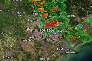 Radar image shows storms moving through Southeast Texas Sunday night.