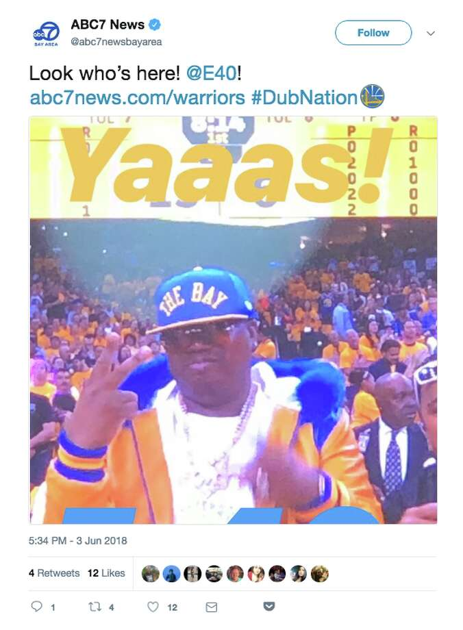 Bay Area rapper E-40 was (of course) on hand for Game 2. Photo: Twitter Screenshot