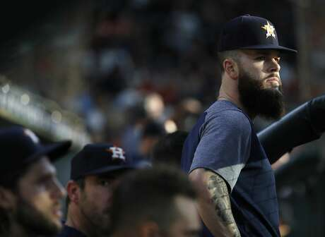 Houston Astros pitcher Dallas Keuchel (60) in the dugout during the first inning of an MLB baseball game at Minute Maid Park, Sunday June 3, 2018, in Houston. ( Karen Warren  / Houston Chronicle )
