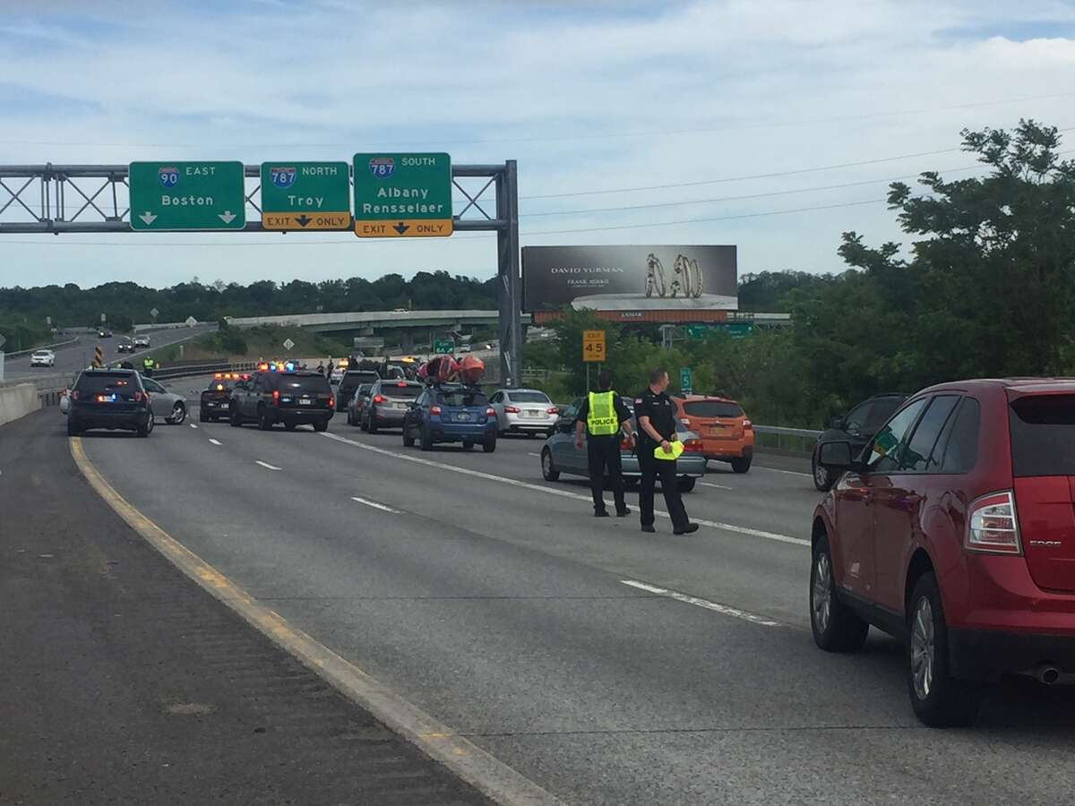 Police are investigating after two people died Sunday, June 3, 2018, one on Erie Boulevard, another on I-90. (Thomas Heffernan Sr. / Special to the Timse Union)