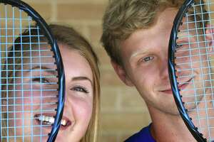 Alamo Heights tennis players Campbell Erwin and Fiona Crawley. Erwin is the 2018 Express-News boys tennis player of the year and Crawley is the girls winner. Taken at Robbins Tennis Center on Thursday, May 31, 2018.