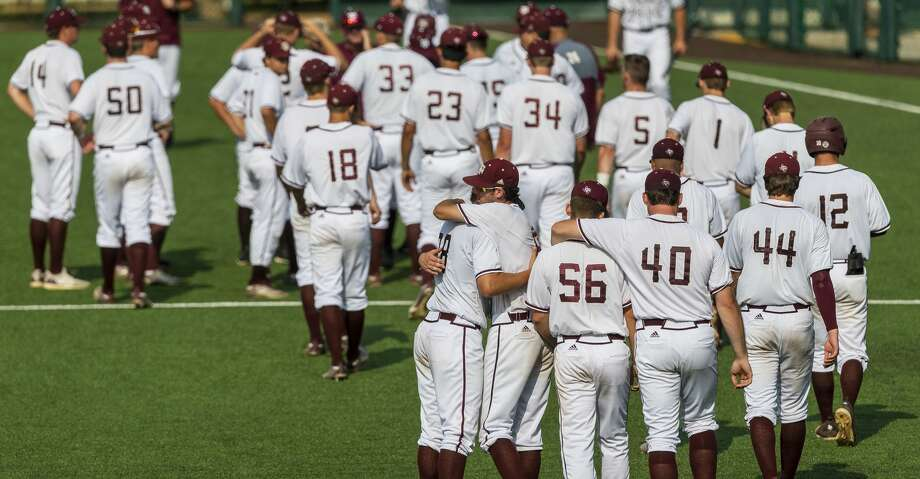 Texas A&M baseball team gathers in right field after falling to Indiana 9-7 during an NCAA regional game at UFCU Disch-Falk Field in Austin, Texas, Sunday, June 3, 2018. (Stephen Spillman) Photo: Stephen Spillman
