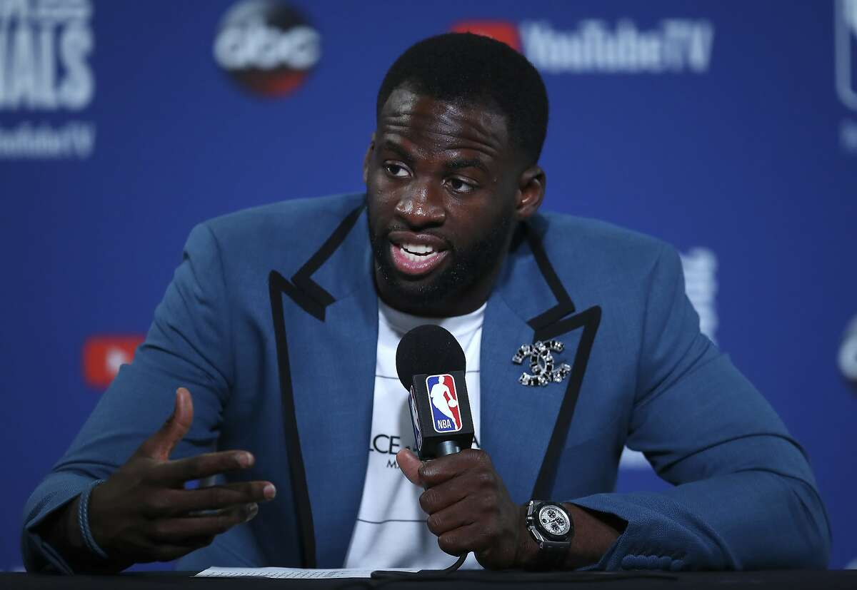 Golden State Warriors forward Draymond Green speaks at a news conference after Game 2 of basketball's NBA Finals between the Warriors and the Cleveland Cavaliers in Oakland, Calif., Sunday, June 3, 2018. The Warriors won 122-103. (AP Photo/Ben Margot)