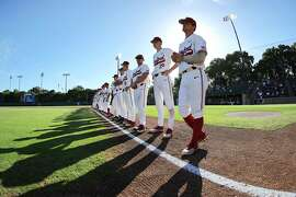 The Stanford baseball team looks on before the game against Cal State Fullerton on Sunday June 3, 2018 in Stanford, Calif. Cal State Fullerton beat the Cardinal in the regional by a final score of 5-2.