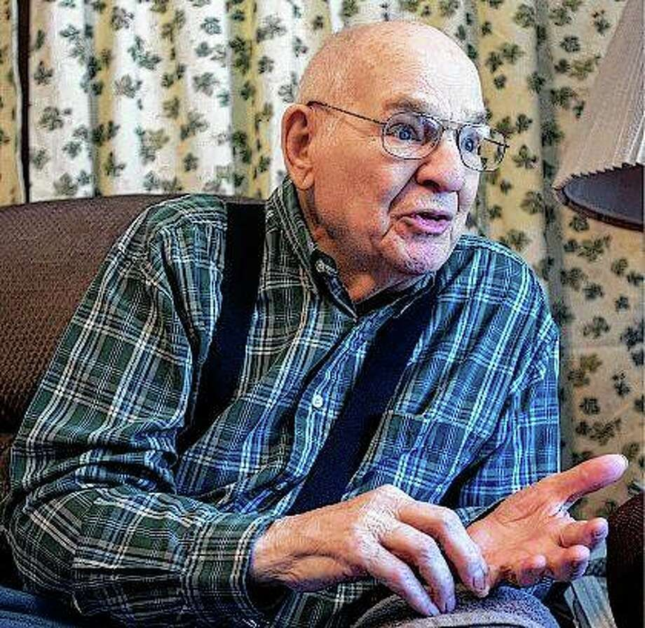 Leon Eisenhauer was accepted to radio operator training, where he spent his time wearing headphones and listening to coded messages come across the wires as he served in the 1950s during the Cold War in Germany. Photo:       Robin Scholz | News-Gazette (AP)
