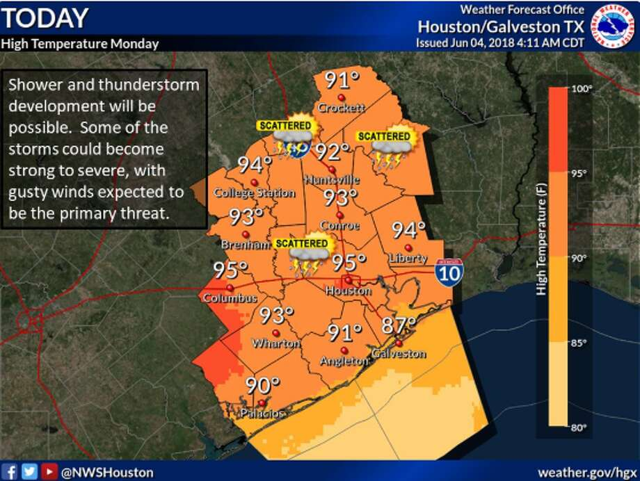 Strong to severe thunderstorms are possible in the Houston region on Monday, June 4, 2018. Photo: National Weather Service