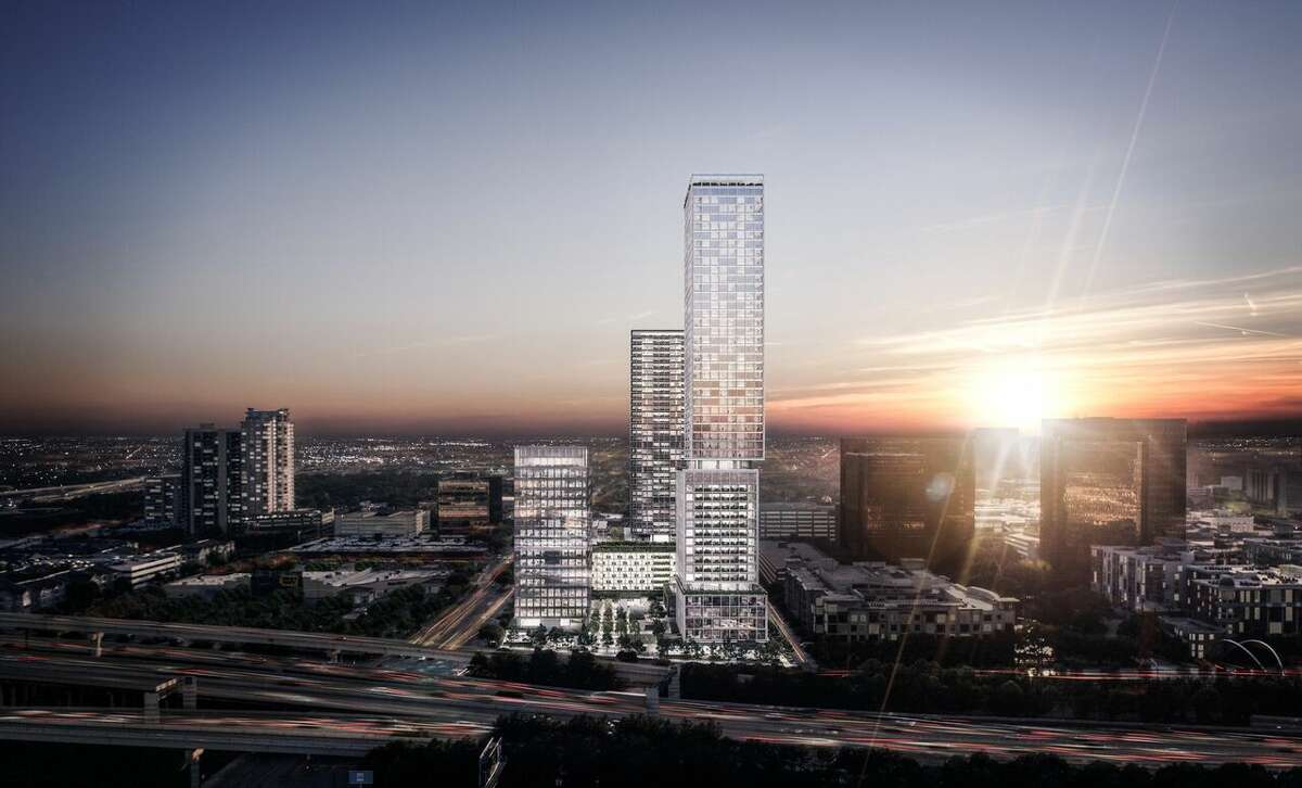 A rendering of the McNair Interests mixed-use development planned for Post Oak Boulevard and Richmond. The project will have a Rosewood hotel. Check out the gallery to see which skyscrapers joined the Houston skyline last year.