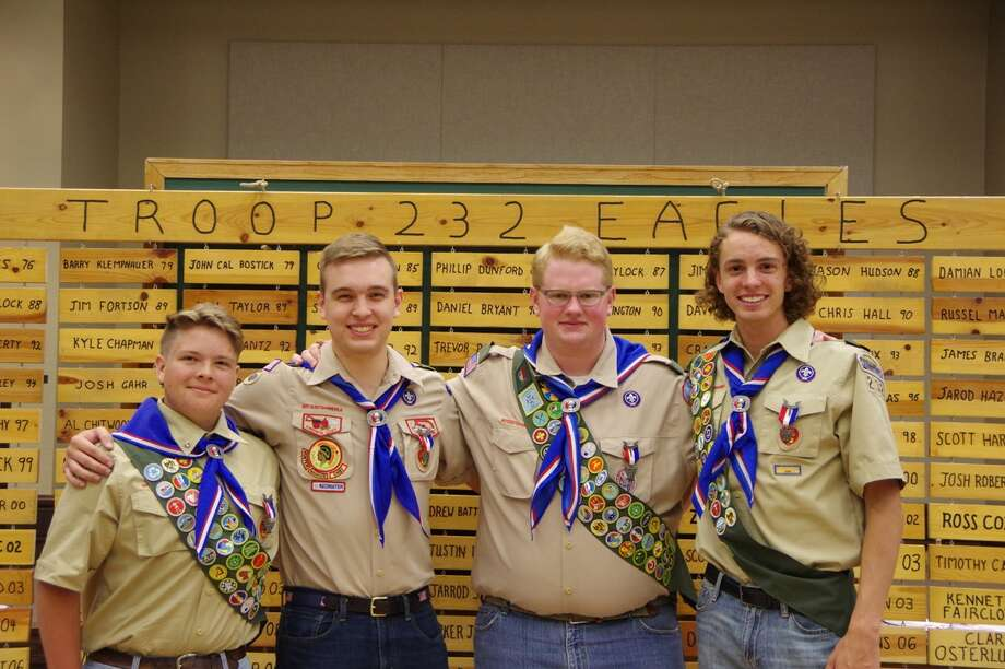 Caleb Anderson, from left, Garrett Hilliard, Jace Hooper and Jonathan Cheatham recently attained the rank of Eagle Scout. They are members of Troop 232. Photo: Courtesy Photo