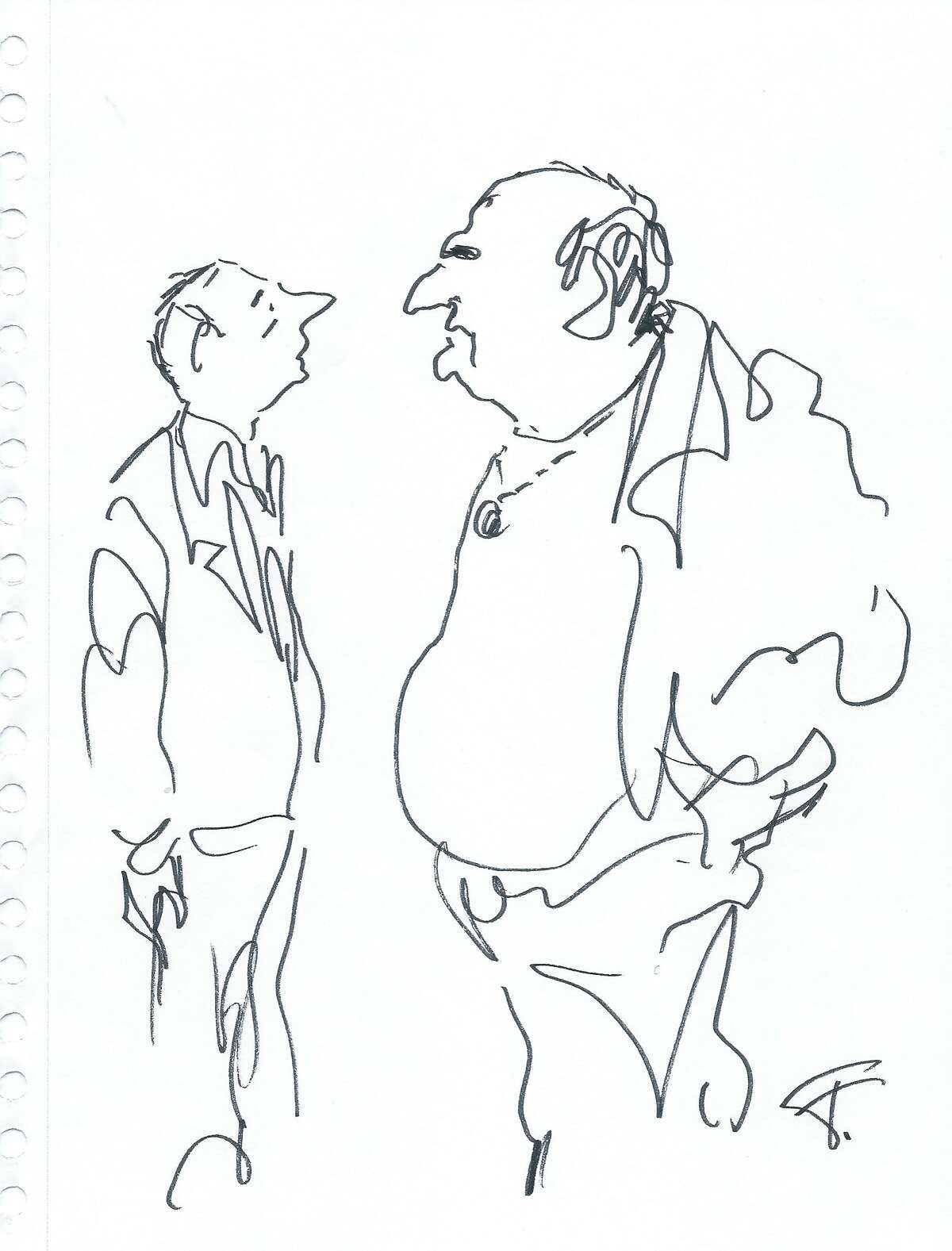 here are cartoons. BY Jules Feiffer Old Bernard and Huey. Credit Jules Feiffer [he drew these for the director, Dan Mirvish]