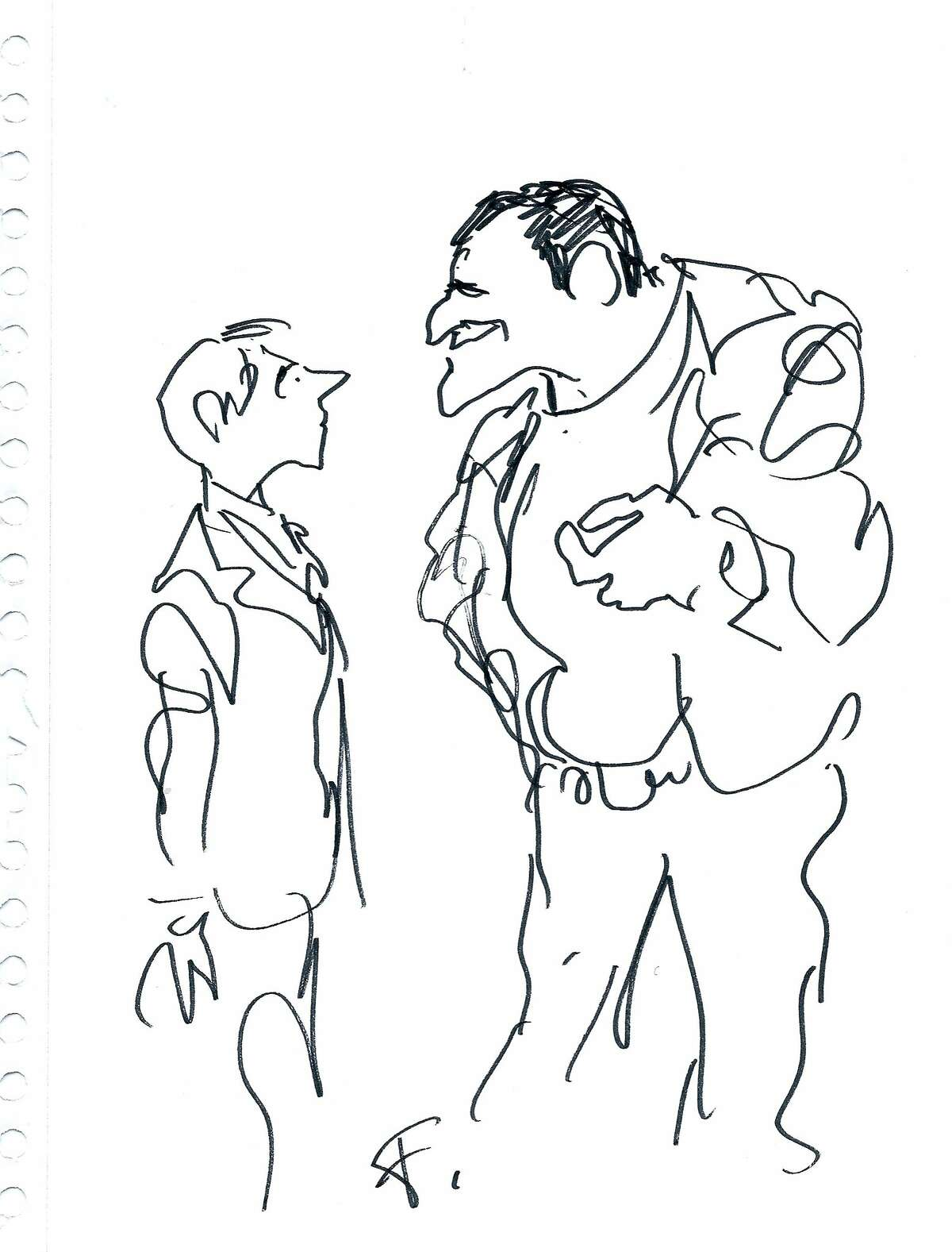 here are cartoons. BY Jules Feiffer Young Bernard and Huey, Old Bernard and Huey. Credit Jules Feiffer [he drew these for the director, Dan Mirvish]
