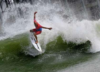 9383425725 TOPSHOT - Kelly Slater of the US does a cutback during the final of the WSL  Founders  Cup of Surfing