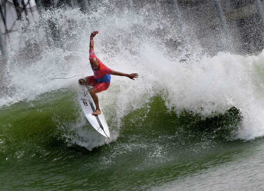 TOPSHOT - Kelly Slater of the US does a cutback during the final of the WSL Founders' Cup of Surfing, at the Kelly Slater Surf Ranch in Lemoore, California on May 6, 2018. The two-day event brings twenty five of the worlds top surfers to compete on perfect machine-created waves in a half-mile long (.8kms) wave pool situated 100 miles (160.9kms) inland from the Pacific Ocean. / AFP PHOTO / MARK RALSTONMARK RALSTON/AFP/Getty Images Photo: MARK RALSTON, Contributor / AFP/Getty Images / AFP or licensors