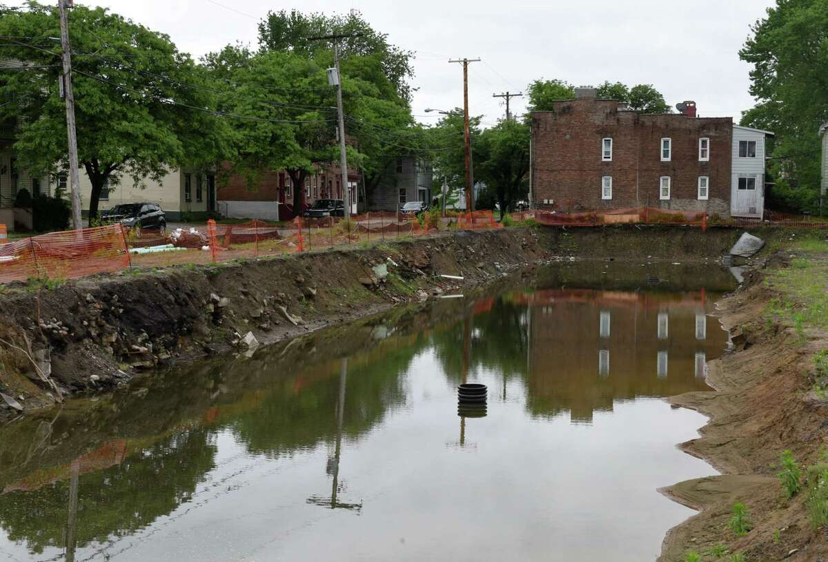 Site of the planned 15 unit townhome property on Barrett St. on Monday, June 4, 2018, in Schenectady, N.Y. Ground was broken last summer for the community investor funded property. (Will Waldron/Times Union)