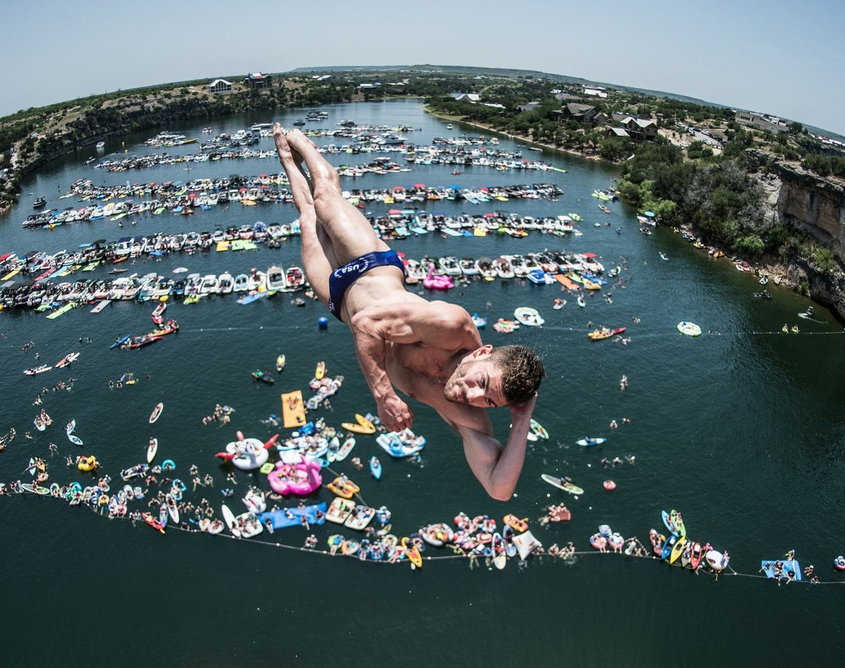David Colturi of the USA dives from the 27 meter platform during the final competition day of the first stop at the Red Bull Cliff Diving World Series on June 2, 2018 at Possum Kingdom Lake, Texas.