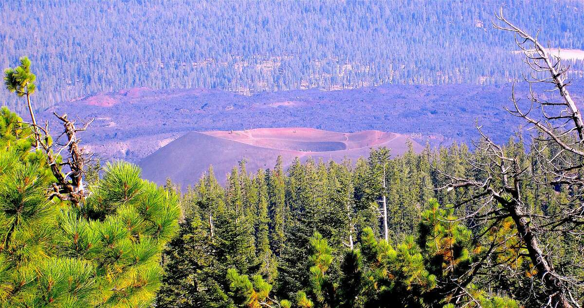 Looking down at the Cinder Cone from the Prospect Peak Trailhead in Lassen Volcanic National Park
