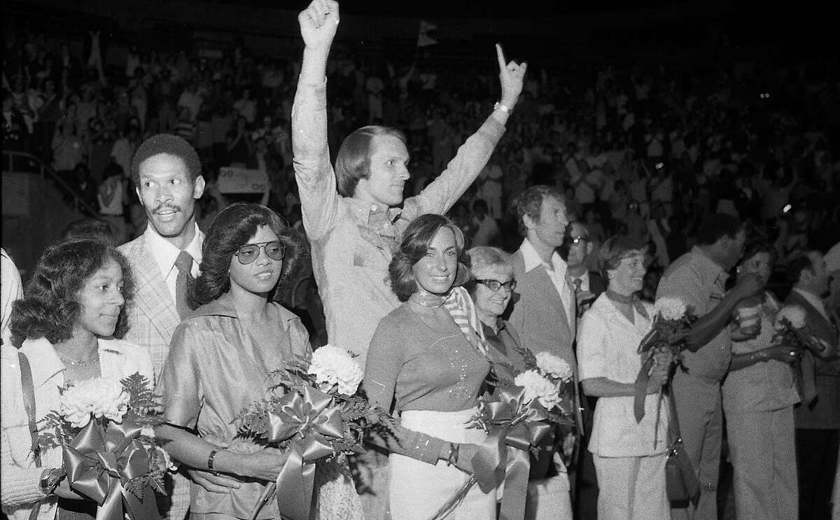 Golden State Warriors Awards ceremony at the Oakland Coliseum, after winning the NBA Championship, May 29, 1975