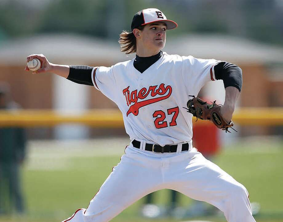 Trey Riley, shown during his days with Edwardsville High, is projected to be among the early picks in the Major League Baseball Draft, set to begin Monday night. Riley pitched the past season at John A. Logan College in Carterville after spending his freshman year at Oklahoma State,.