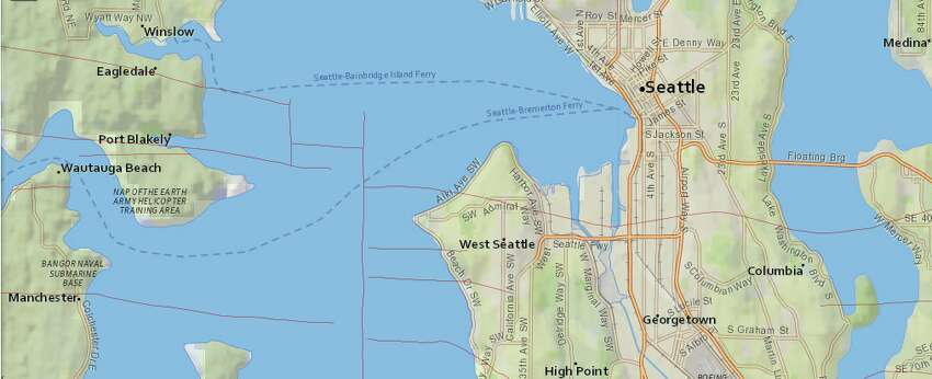 A detailed view of the Seattle Fault zone.
