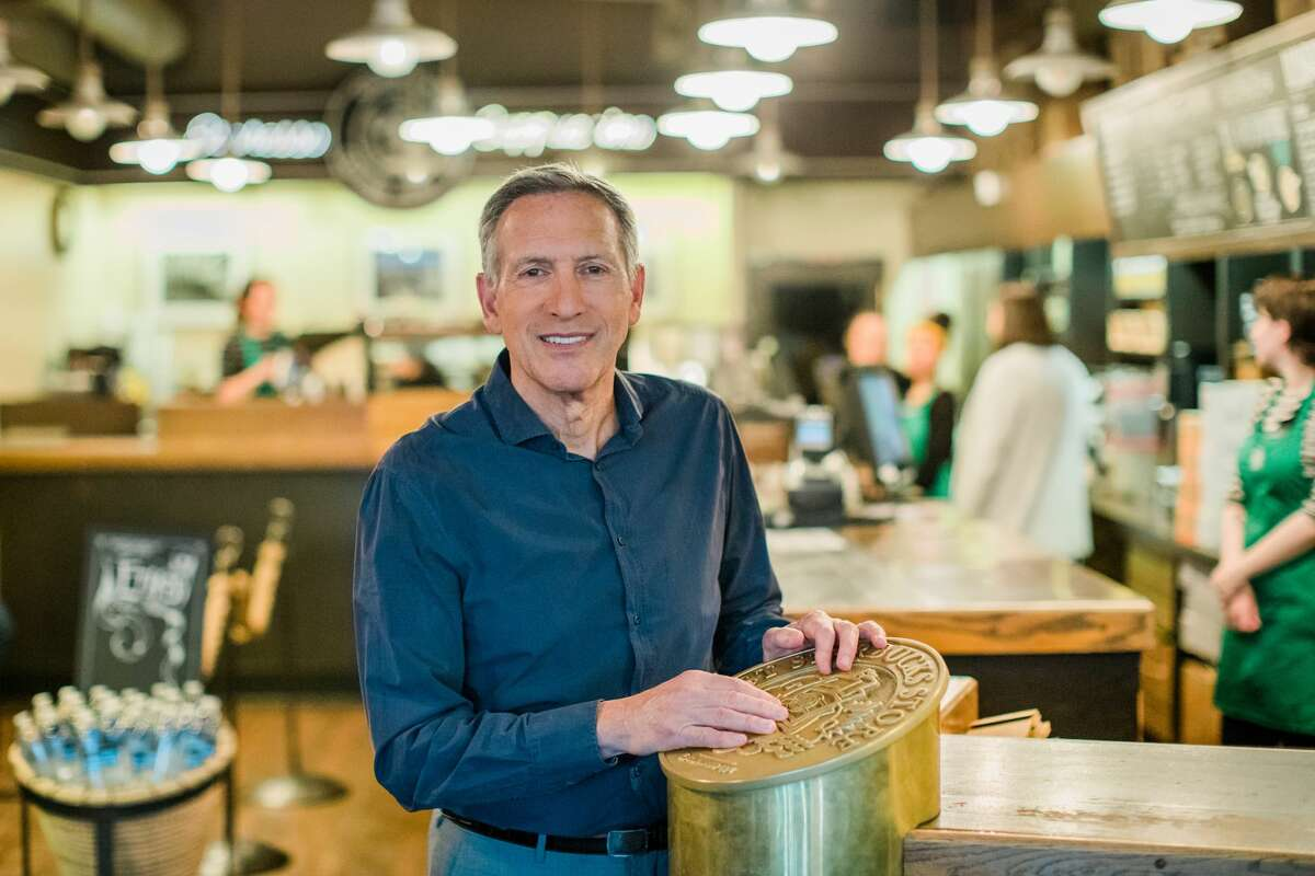 Howard Schultz, Starbucks executive chairman, visits the original Starbucks store at Pike Place Market on Monday, June 4, 2018. (Joshua Trujillo, Starbucks)
