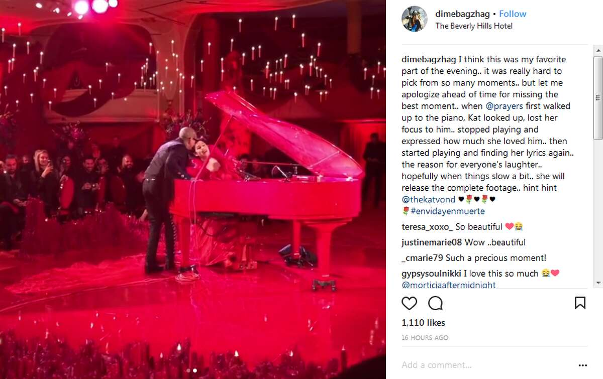 dimebagzhag: I think this was my favorite part of the evening.. it was really hard to pick from so many moments.. but let me apologize ahead of time for missing the best moment.. when @prayers first walked up to the piano, Kat looked up, lost her focus to him.. stopped playing and expressed how much she loved him.. then started playing and finding her lyrics again.. the reason for everyone's laughter.. hopefully when things slow a bit.. she will release the complete footage.. hint hint