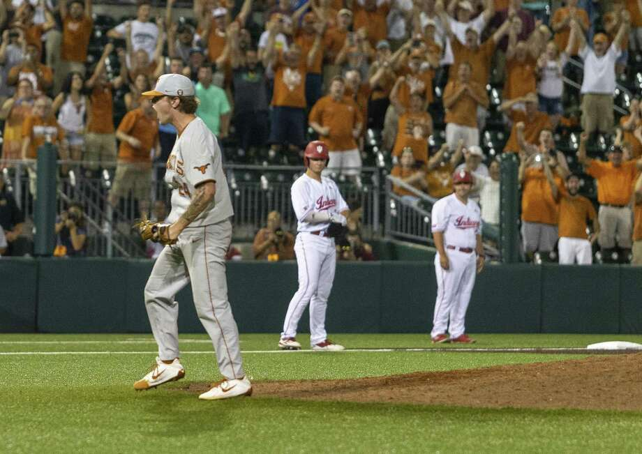 Texas' Chase Shugart celebrates the final game winning pitch against Indiana during an NCAA regional game at UFCU Disch-Falk Field in Austin, Texas, Sunday, June 3, 2018. (Stephen Spillman) Photo: Stephen Spillman / Stephen Spillman / stephenspillman@me.com Stephen Spillman