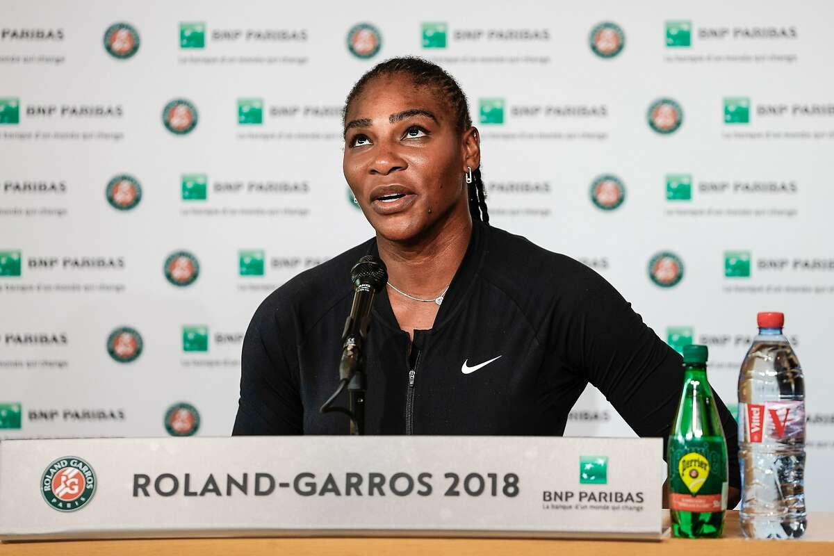 """In this handout photo provided by the French Tennis Federation (FFT) Serena Williams of the US gives a press conference as she announces her withdrawal from the French Open through injury, at Rolland Garros tennis complex in Paris on June 4, 2018. / AFP PHOTO / FEDERATION FRANCAISE DE TENNIS AND AFP PHOTO / Pauline Ballet / RESTRICTED TO EDITORIAL USE - MANDATORY CREDIT """"AFP PHOTO / FFT / PAULINE BALLET """" - NO MARKETING NO ADVERTISING CAMPAIGNS - DISTRIBUTED AS A SERVICE TO CLIENTSPAULINE BALLET/AFP/Getty Images"""