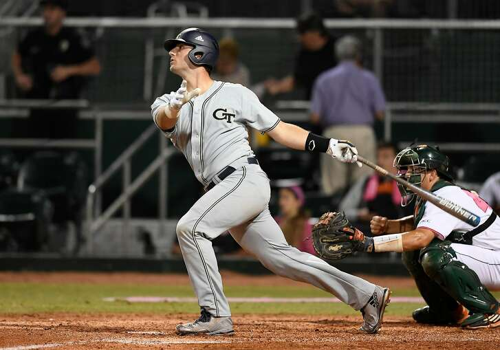 CORAL GABLES, FL - MARCH 10: Georgia Tech catcher Joey Bart (9) at bat during a college baseball game between the Georgia Tech Yellow  Jackets and the University of Miami Hurricanes on March 10, 2017 at Alex Rodriguez Park at Mark Light Field, Coral Gables, Florida. Miami defeated Tech 10-8.  (Photo by Richard C. Lewis/Icon Sportswire via Getty Images)