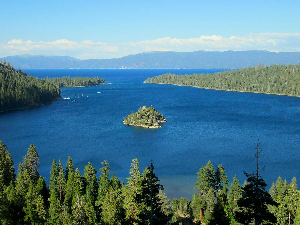 The view of Emerald Bay and Lake Tahoe from Inspiration Point at Emerald Bay State Park