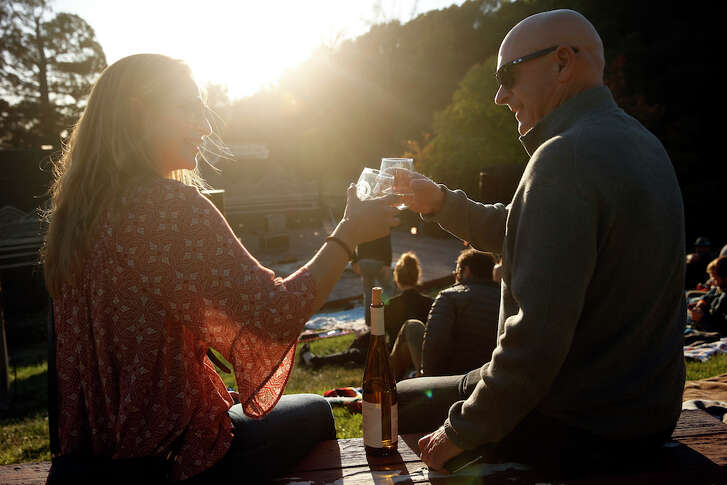Leila Russell and Marty Hinds of Napa toast each other before Iron & Wine has a concert at Gunlach Bundschu Winery in Sonoma, Calif., on Wednesday, September 21, 2016.