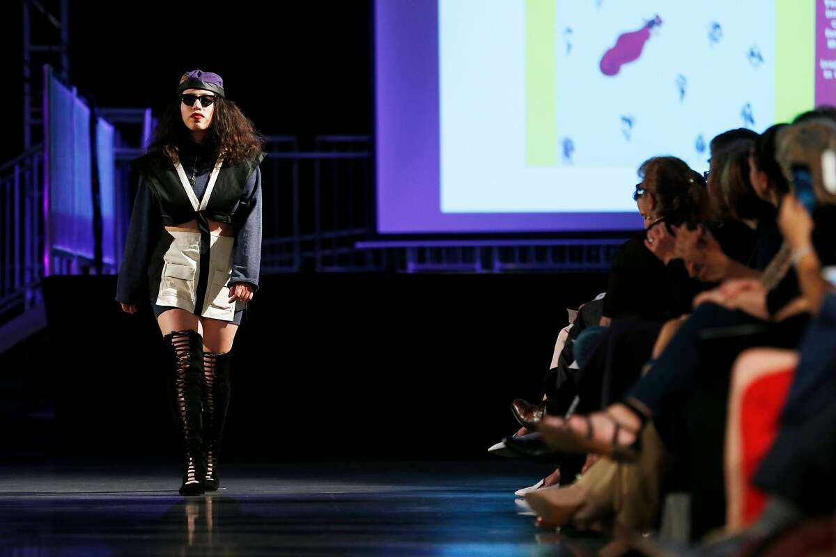 """""""Runway 2018: DIVERGE"""" at San Francisco State University, Thursday, May 10, 2018, in San Francisco, Calif Junior Margarita Ayala of Oakland was influenced by activism in Oakland both present and past, including the Black Panthers movement."""