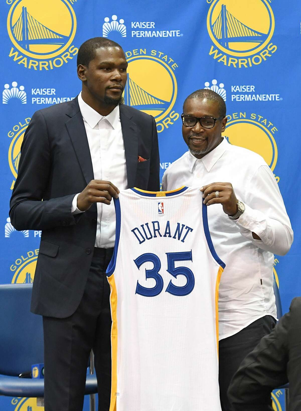 July 2016: Durant officially signs with the Golden State Warriors. Green met with Durant along with Stephen Curry, Klay Thompson and Andre Iguodala in the Hamptons to recruit the Thunder star to Golden State.
