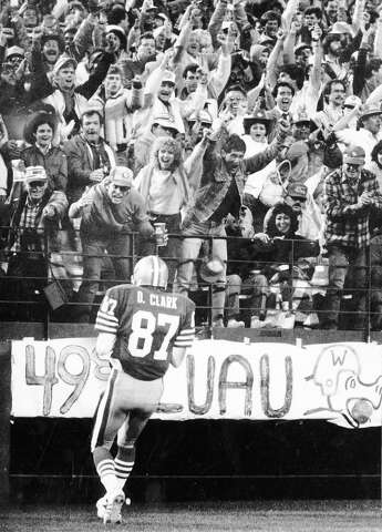 3aced4c9fc1 Dwight Clark celebrates a touchdown in the first half of a 49ers game  versus the Redskins