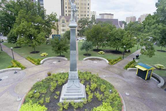 The Confederate Soldier monument in San Antonio's Travis Park is seen Aug. 28, 2017. The City Council voted to remove it.